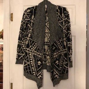 Charming Charlie black and white Aztec cardigan